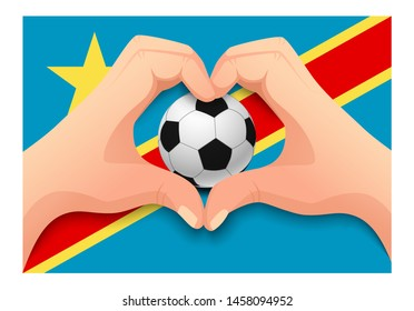 Democratic Republic of the Congo flag and hand heart shape. National football background. Soccer ball with flag of Democratic Republic of the Congo  illustration