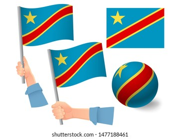 Democratic Republic of the Congo flag in hand set. Ball flag. National flag of Democratic Republic of the Congo  illustration