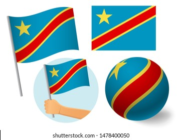 Democratic Republic of the Congo flag icon set. National flag of Democratic Republic of the Congo  illustration