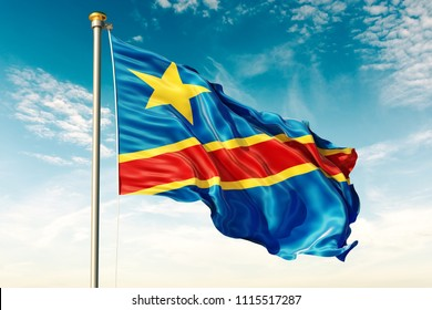 Democratic Republic Congo flag on the blue sky with cloud. 3D illustration