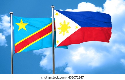 Democratic republic of the congo flag with Philippines flag, 3D