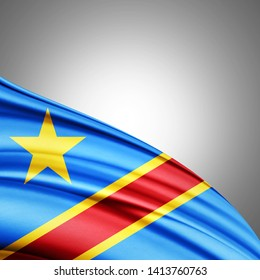 Democratic Republic of the Congo flag of silk with copyspace for your text or images and white background-3D illustration