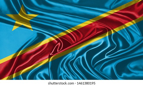 Democratic Republic of the Congo Flag of Silk, Flag of Democratic Republic of the Congo fabric texture background.