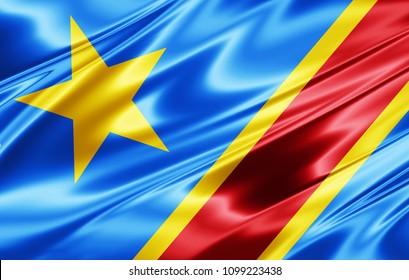 Democratic Republic of  the Congo flag of silk-3D illustration