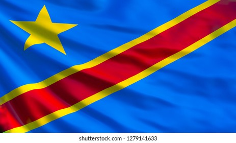 Democratic Republic of the Congo flag. Waving flag of Democratic Republic of the Congo 3d illustration. Kinshasa