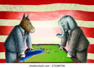 Democrats Donkey and republican elephant wearing suits face off versus each other over a map on a table