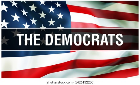 The Democrats election on a USA background, 3D rendering. United States of America flag waving in the wind. Voting, Freedom Democracy, The Democrats concept. US Presidential election banner