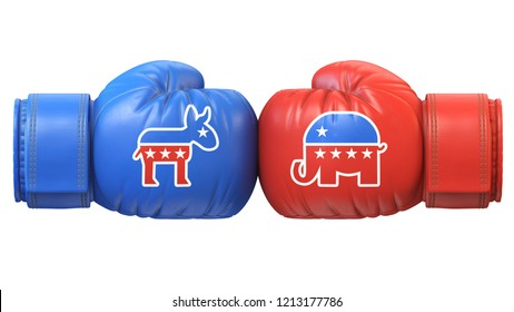 Democrats vs. Republicans. Two boxing gloves against each other in colors of Democratic and Republican party, 3d rendering