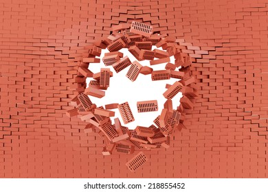 Demolished Red Brick Wall with Hole isolated on white background