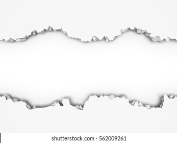 Demolition destruction cracked white wall. Abstract background. 3d render illustration