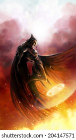 Demon angel flying with demonic fire signs profile view illustration.