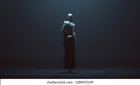 Demon in a Black Opened Backed Pant Suit Futuristic Haute Couture Dress Abstract Demon 3d illustration 3d render