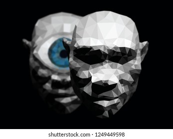 A demon cyclops behind a human face for the concept: The evil behind man. Low poly illustration.