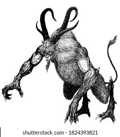 demon devil damn monster fiend of hell nightmare creature from the underworld a beast with horns and a goat beard