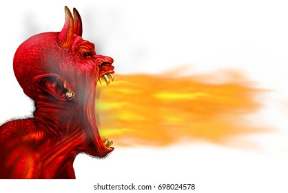 Demon fire flame on a white background as a creepy scary red horned satanic beast monster breathing out hot flames as a halloween or horror symbol with 3D illustration elements.