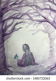 demon fox girl in twilight forest