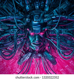 Demon in the machine / 3D illustration of evil science fiction male artificial intelligence hardwired to computer core