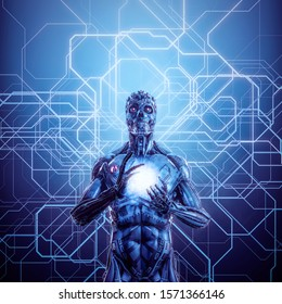 Demon in the matrix / 3D illustration of futuristic science fiction skull faced humanoid cyborg cradling ball of energy