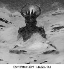 Demon meditation in the mountains in the snow. Mystical illustration.