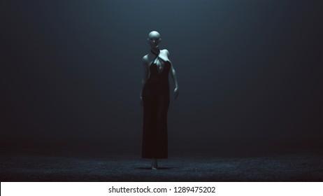 Demon Nun in a Black Pant Suit Futuristic Haute Couture Dress Abstract Demon 3d illustration 3d render