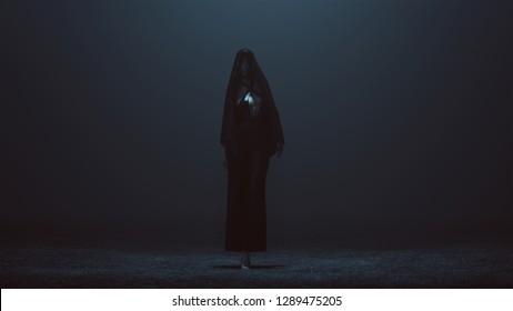 Demon Nun in a Black Pant Suit with a Veil Futuristic Haute Couture Dress Abstract Demon 3d illustration 3d render