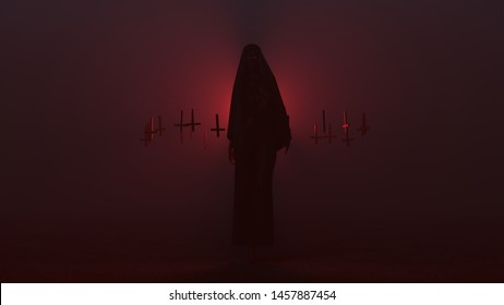 Demon Nun in a Black Pant Suit with a Veil Seductive Vampire Devil Futuristic Haute Couture and Upside Down Floating Crosses Abstract Demon in a Foggy Void 3d illustration 3d render