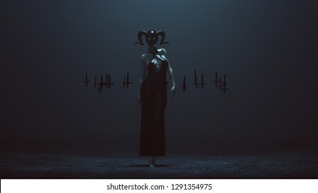 Demon Nun in a Skull Mask and Black Pant Suit Futuristic Haute Couture Dress and Upside Down Floating Crosses Abstract Demon 3d illustration