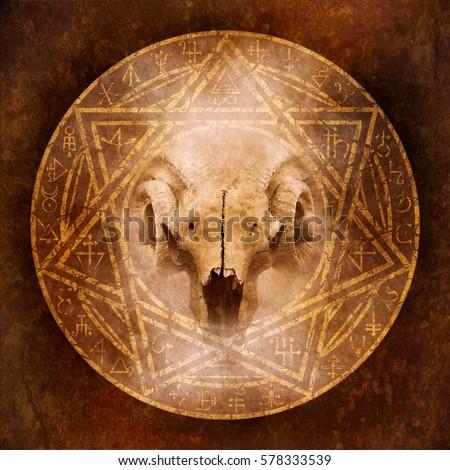 Demon Ritual Satanic Goathorned Ram Skull Stock Illustration