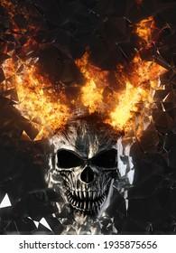 Demon skull with burning horns breaking through  - 3D Illustration