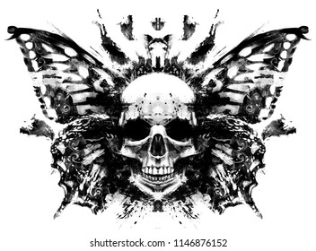 Demon skull with butterfly wings behind