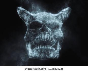 Demon skull made out of smoke - 3D Illustration