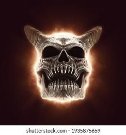 Demon skull in a red beam of light - 3D Illustration