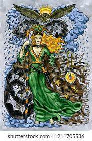 Demon witch with clock and owl. Hand drawn graphic watercolor illustration with fantasy character, card concept art