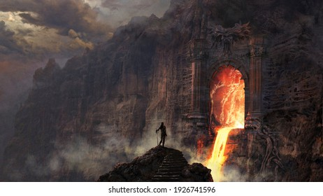 Demonic gate with lava river - digital illustration
