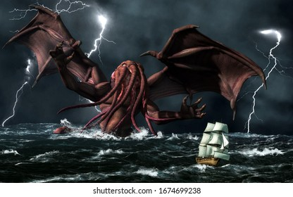 The demonic god, Cthulhu, from a forgotten age rises from a stormy sea to terrorize a passing ship. 3D Rendering