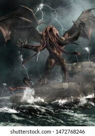 A demonic god from a forgotten age stands on rocks in a stormy sea highlighted by lightning. 3D Rendering