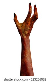 A demonic hand isolated on white background.