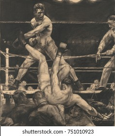 DEMPSEY THROUGH THE ROPES, by George Bellows, 1923, American drawing, lithographic crayon on paper. Luis Firpo knocked Jack Dempsey out of the ring in the first round of their fight at the Polo Ground