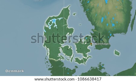 Denmark Topographic Map.Royalty Free Stock Illustration Of Denmark Area On Topographic