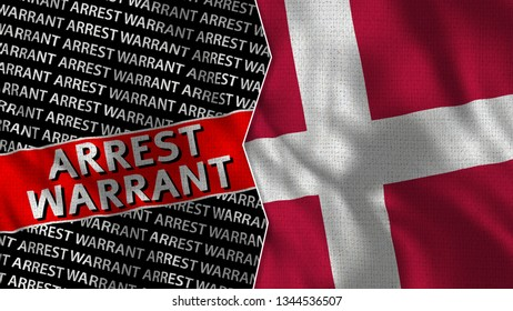 Denmark and Arrest Warrant Titles Flag Together - 3D illustration Fabric Texture