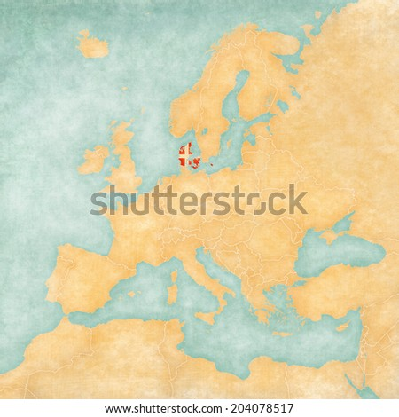 Denmark Danish Flag On Map Europe Stock Illustration 204078517