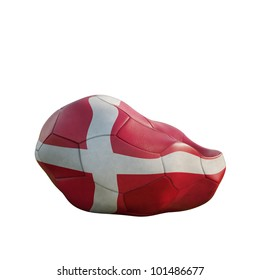 denmark deflated soccer ball isolated on white