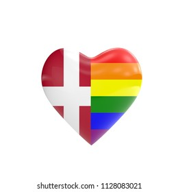 Denmark flag and gay LGBT rainbow flag heart shape. Gay rights concept. 3D Rendering