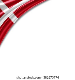 Denmark  flag of silk with copyspace for your text or images and white background