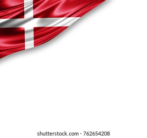 Denmark flag of silk with copyspace for your text or images and white background -3D illustration