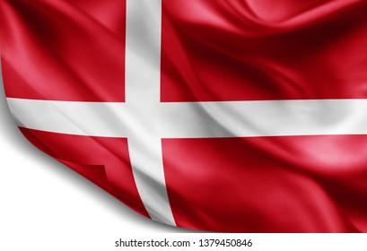 Denmark flag of silk-3D illustration