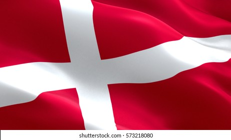 Denmark flag. Waving colorful Denmark flag