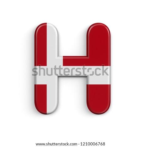 Royalty Free Stock Illustration Of Denmark Letter H Uppercase 3 D