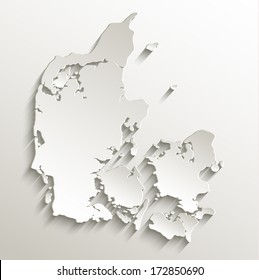 Denmark map card paper 3D natural raster blank