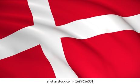 Denmark National Flag (Danish flag) - waving background illustration. Highly detailed realistic 3D rendering
